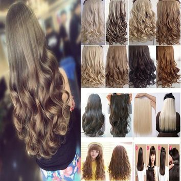 "18-26"" 45-66CM 100%Real Natural Hair Extention One Piece 3/4 Full Head Hairpiece Clip in Hair Extensions Curly Wavy US Fast SHIP"