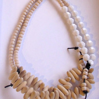 Summer statement necklace white and black with natural wood beads modern jewelry