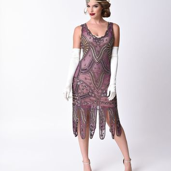 Unique Vintage 1920s Style Purple & Gold Beaded Sinclair Flapper Dress