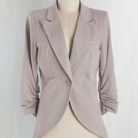 Scholastic Mid-length 3 Fine and Sandy Blazer in Pebble by ModCloth