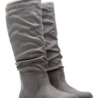 Grey Go-To Faux Suede Slouch Boot @ Cicihot Boots Catalog:women's winter boots,leather thigh high boots,black platform knee high boots,over the knee boots,Go Go boots,cowgirl boots,gladiator boots,womens dress boots,skirt boots.