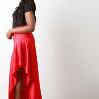 Satin Asymmetrical Drape Midi Skirt