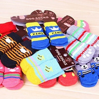 4Pcs Cute Puppy Dogs Pet Knits Socks Anti Slip Skid Bottom Hot Sale Fashion = 1958054276