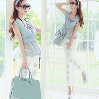 Light Green Drape Wrap Peplum Top and Beaded Floral Embroidery Skinny Pants