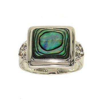 Square Cut Genuine Abalone Silvertone Fashion Ring with Abstract Heart Side Detail