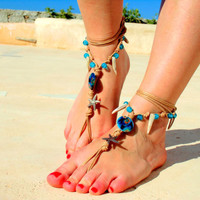 Barefoot Sandals, Nude shoes, blue shell, Foot  jewelry, Wedding, Victorian Lace, Sexy, Yoga, Anklet , Bellydance, Steampunk, Beach Pool