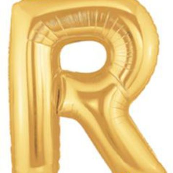 "Letter R Gold 40"" Foil Balloon"