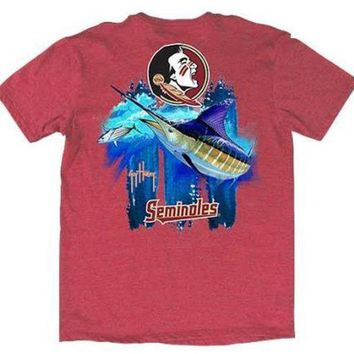 ONETOW NCAA Florida State Mens Guy Harvey T-Shirt Heather Red
