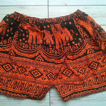 Orange Hobo Elephants Print Shorts Ikat Summer Beach Fashion Tribal Clothing Aztec Ethnic Boho Cloth Cute Comfy Wear with Tank top or Jeans