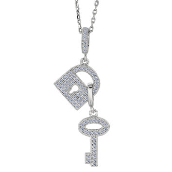 Sterling Silver Rhodium Plated Finish Lock And Key Charms Necklace With CZ - 18 Inch
