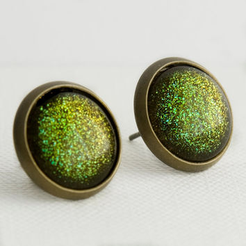 Zombie Post Earrings in Antique Bronze - Olive Green Glitter Stud Earrings