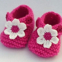 1 pair of newborn raspberry pink baby shoes