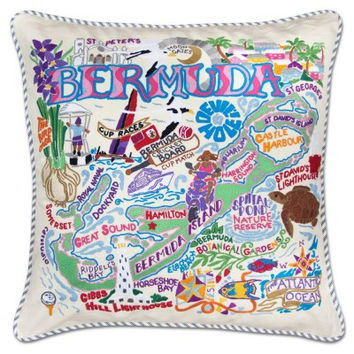 BERMUDA HAND-EMBROIDERED PILLOW