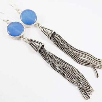 Blue Round Gemstone Tassel Earrings - Jade - Matte Silver plated with Sterling Silver Earwire - Boho Gypsy Style