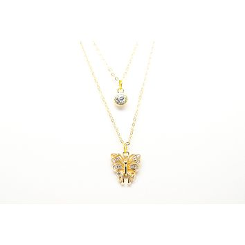 Butterfly Gold Plated Double Necklace with Cubic Zirconia