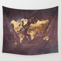 world map 148 rose gold #worldmap #map Wall Tapestry by jbjart