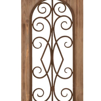 Wooden And Metal Wall Panel In Majestic Style With Tan Finish