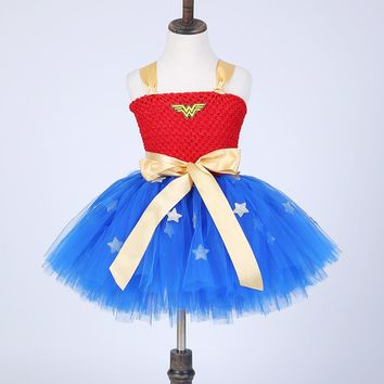 Handmade Girls Tulle Tutu Dress Cosplay Batman Super Girl Dress Wonder Woman Costume Festival Birthday Party Teenager Dresses