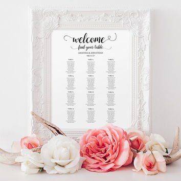 Wedding seating chart instant download | wedding seating chart printable template | wedding seating chart board | Wedding Seating Plan PDF