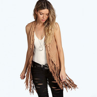 Sleeveless Fringed Jacket