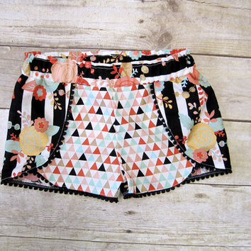 Coachella Shorts | 6m - 12years | Black Mint Gold Stripes | Mommy & Me Shorts | Pom Pom Shorts