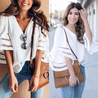 Sweet Solid Color V-Neck Chiffon T-Shirt