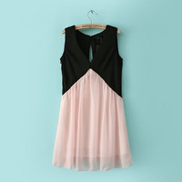 Chiffon High Waist V-neck Sleeveless Princess Pleated Mini Dress