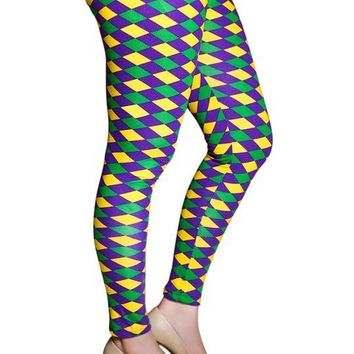 Mardi Gras Purple Green and Gold Harlequin Tights