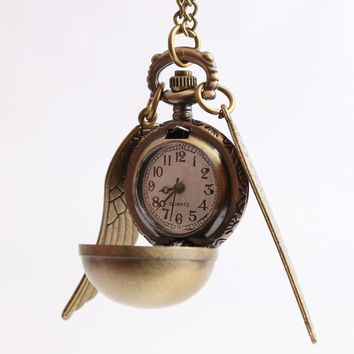 Bronze Fashion Harry Wing Antique Steampunk Ball Quartz Fob Pocketed Watch Men Woman Children Necklace Pendant With Chain Gifts