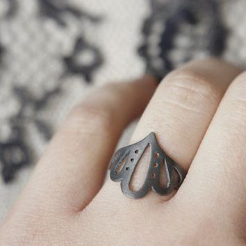 Lingerie Ring 004 Sterling Silver Hand Cut by by gemagenta