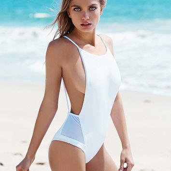 Fashion Summer Slim Bodycon Swimsuit One Piece Nave Bathing Suit Bikini Beach wears = 6002248385