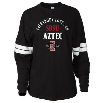 Official NCAA SDSU Aztecs - RYLSDS15 Women's Oversized Football Tee with Stripes