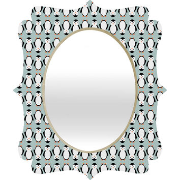 Allyson Johnson Penguin Pattern Quatrefoil Mirror