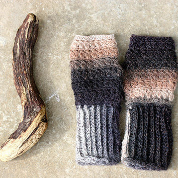 Fingerless gloves in shades of brown, fingerless mittens, crochet fingerless glove, lace fingerless gloves, long fingerless gloves