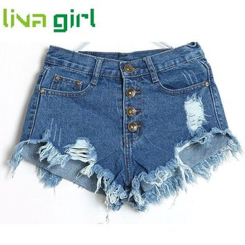 Summer Denim Shorts Women Fashion Ripped Hole Short Jeans Casual Lady High Waist Skinny Tassel Shorts Girl Bottom Pantalon Dec30