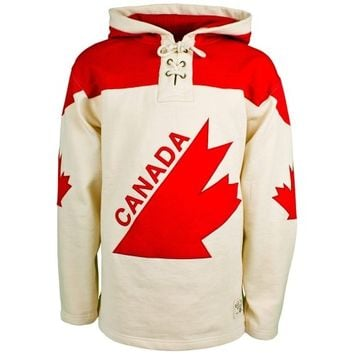 Old Time Hockey Canada Winter Olympics Vintage Lace-Up Pullover Hoodie - Cream/Red