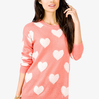 Open-Knit Heart Print Sweater