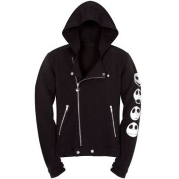 Fleece Asymmetric Biker Jacket Jack Skellington Hoodie for Women | Hoodies & Sweatshirts | Disney Store