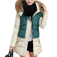 Faux Fur Collar Slant Front Pocket Color Block Coat