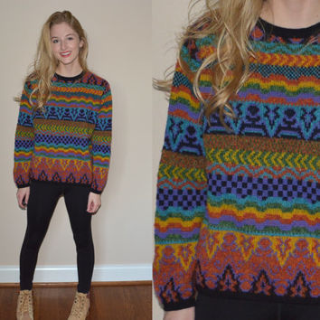 VIntage Colorful Sweater Patterned Rainbow Colorful Womens Small Jumper Pullover Winter Wool Sweater Aztec Tribal Hipster