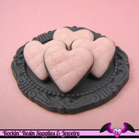 5 Pcs QUILTED HEART Cookie Pink Flatback Kawaii Decoden Cabochons 19x20mm