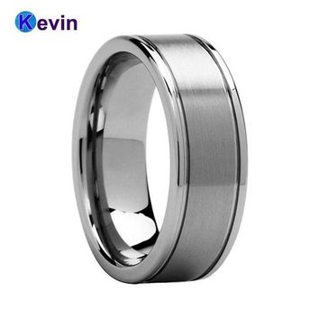 ac spbest Best Seller Classic Tungsten Men Ring Mens Wedding Band With Grooved And Center Brush Finish