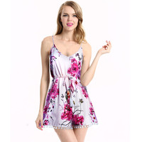 Sexy Women's Floral Sleeveless Romper Playsuit Jumpsuit Summer Deep V-Neck Spaghetti Strap Romper Plus size Beach playsuit