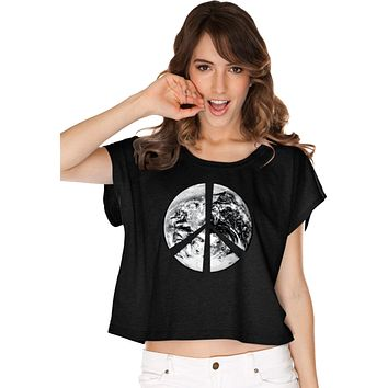 Buy Cool Shirts Ladies Peace T-shirt Earth Satellite Symbol Boxy Tee