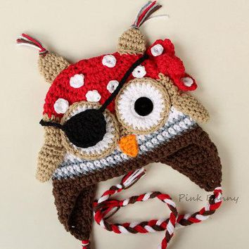 Christmas gift  Crochet Pirate Owl Hat, Halloween baby hat photo prop 100% cotton Pirate Owl Hat with Earflaps Animal Beanie