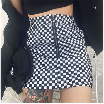 New Casual Summer Women Sexy A-line Checkerboard Mini Skirt High Waist Plaid Print Reversible Harajuku Short Streetwear Skirts