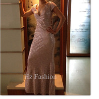 V Neck Pink Sequin Long Formal Prom Dress/Evening Gown/2014 Party Dress