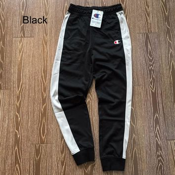 Champion autumn and winter new retro men and women models beam pants casual sports pants Black