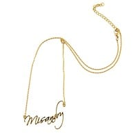 Misandry Nameplate Style Necklace in Gold