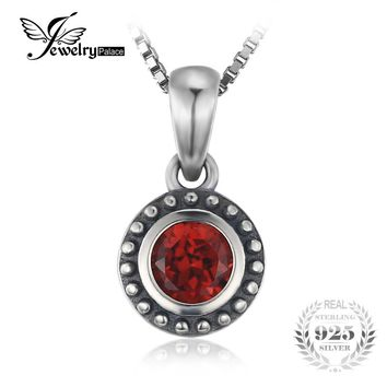 JewelryPalace Vintage 0.64ct Natural Garnet Round Pendant Necklace 925 Sterling Silver 45cm Box Chain Necklace For Women Jewelry